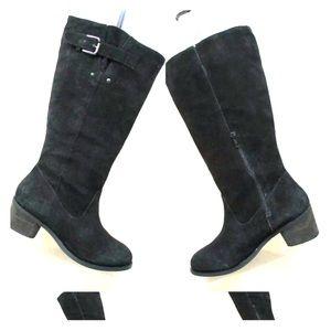 Torrid Black Suede Buckle Knee High Boots Size 8 W